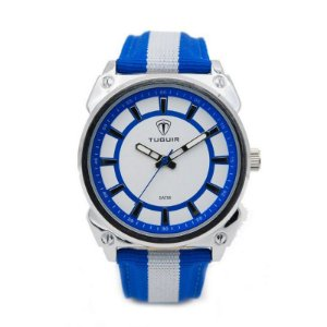 Relógio Masculino Tuguir Analógico 5007 - Azul, Branco e Prata-