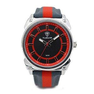 Relógio Masculino Tuguir Analógico 5007 - Cinza, Vermelho e Prata-