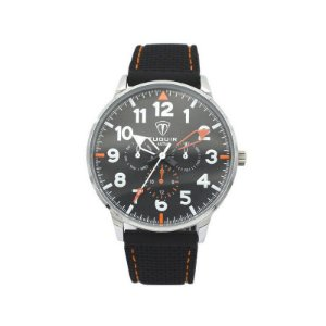 Relógio Masculino Tuguir Analógico 5022 - Preto e Branco e Laranja-