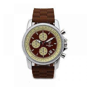 Relógio Masculino Tuguir Analógico 5027 - Marrom e Prata