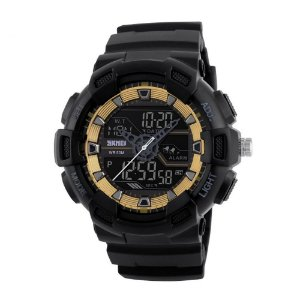 Relógio Masculino Skmei AnaDigi 1189 - Preto e Dourado