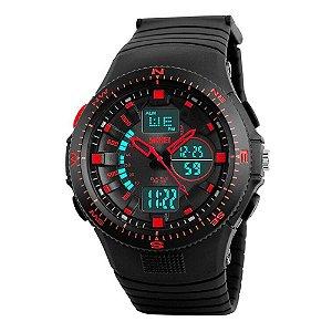 Relógio Masculino Skmei AnaDigi 1198 - Preto e Vermelho