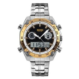 Relógio Masculino Skmei AnaDigi 1204 - Prata e Dourado