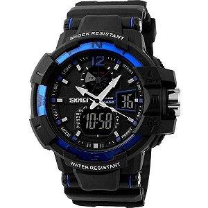 Relógio Masculino Skmei Anadigi 1040 Preto e Azul