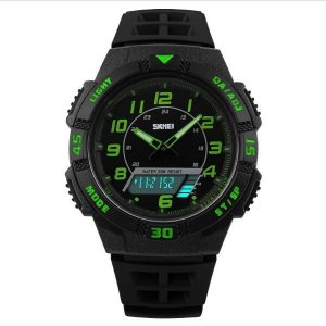Relógio Masculino Skmei Anadigi 1065 Preto e Verde-