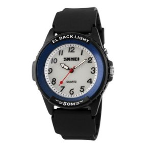 Relógio Masculino Skmei Analógico 0887 Preto e Azul-