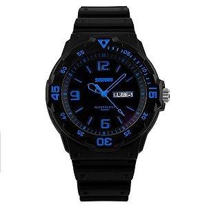 Relógio Masculino Skmei Analógico 1045 Preto e Azul-