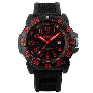 Relógio Masculino Skmei Analógico 1078 Preto e Vermelho-