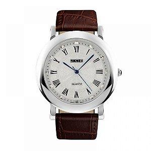 Relógio Masculino Skmei Analógico 1104 - Marrom e Prata
