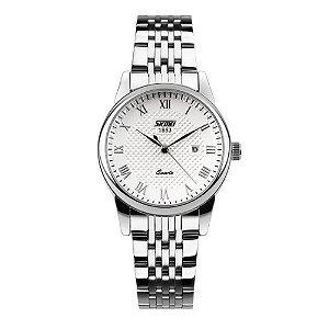 Relógio Masculino Skmei Analógico 9058 - Prata e Branco