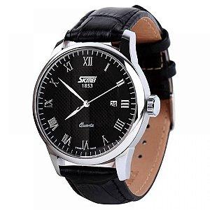 Relógio Masculino Skmei Analógico 9058 - Preto e Prata