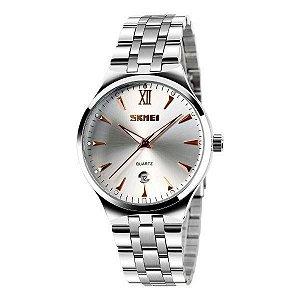 Relógio Masculino Skmei Analógico 9071 - Prata, Branco e Dourado