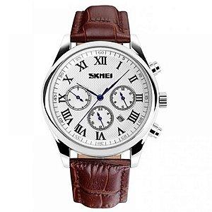 Relógio Masculino Skmei Analógico 9078 - Marrom e Branco