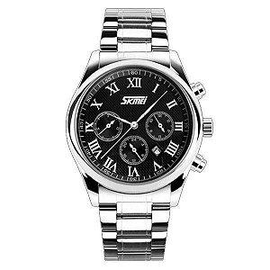 Relógio Masculino Skmei Analógico 9078 - Prata e Preto