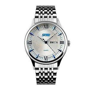 Relógio Masculino Skmei Analógico 9091 - Prata e Azul