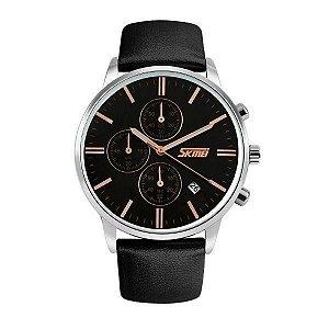 Relógio Masculino Skmei Analógico 9103 - Preto e Prata