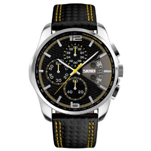 Relógio Masculino Skmei Analógico 9106 - Preto e Amarelo