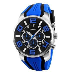 Relógio Masculino Skmei Analógico 9128 - Azul, Preto e Prata