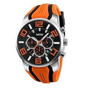 Relógio Masculino Skmei Analógico 9128 - Laranja, Preto e Prata