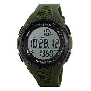 Relógio Pedômetro Masculino Skmei Digital 1108 - Verde e Preto