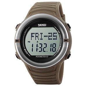 Relógio Pedômetro Masculino Skmei Digital 1111 - Marrom e Prata