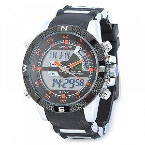 Relógio Masculino Weide AnaDigi Esporte WH-1104 - Preto, Prata e Laranja
