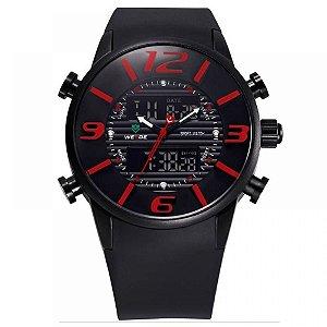 Relógio Masculino Weide AnaDigi Esporte WH-3402 - Preto e Vermelho