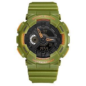 Relógio Masculino Weide AnaDigi WA3J8004 - Verde e Laranja