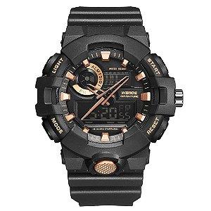 Relógio Masculino Weide AnaDigi WA3J8007 - Preto e Rosê