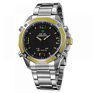 Relógio Masculino Weide AnaDigi WH-2306 - Prata e Amarelo