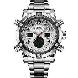 Relógio Masculino Weide AnaDigi WH-5205 - Prata e Branco