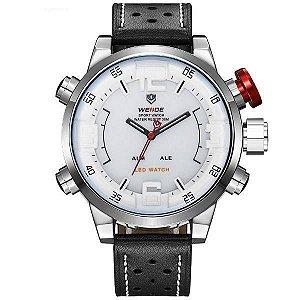 Relógio Masculino Weide AnaDigi WH-5210 - Preto, Prata e Branco