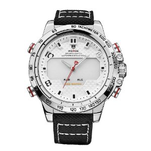 Relógio Masculino Weide AnaDigi WH-6102 - Preto, Prata e Branco