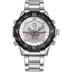 Relógio Masculino Weide AnaDigi WH-6105 - Prata e Vermelho