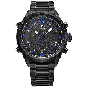 Relógio Masculino Weide AnaDigi WH-6303 - Preto e Azul