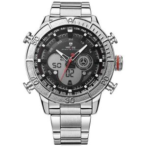 Relógio Masculino Weide AnaDigi WH-6308 - Prata e Preto