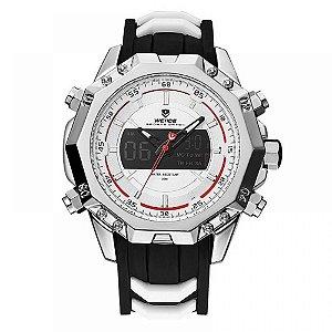 Relógio Masculino Weide AnaDigi WH-6406 - Prata, Preto e Branco