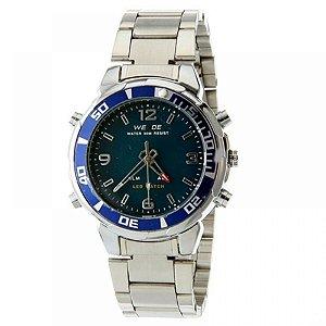 Relógio Masculino Weide AnaDigi WH-843 - Prata e Azul