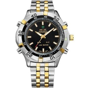 Relógio Masculino Weide Anadigi WH-905 Prata e Dourado