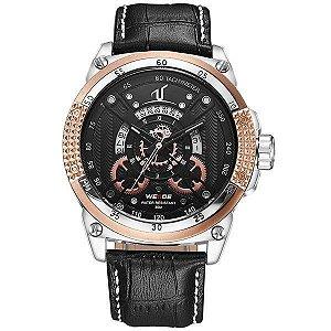 Relógio Masculino Weide Analógico UV-1605 - Preto, Prata e Dourado