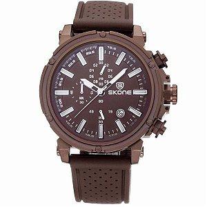 Relógio Masculino Skone Analógico 5148EG Marrom-
