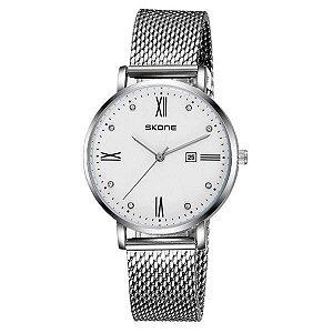 Relógio Masculino Skone Analógico 7392BL Branco-