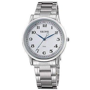 Relógio Masculino Skone Analógico Casual 7055 Prata-