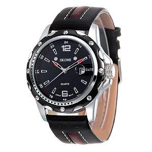 Relógio Masculino Skone Analógico Casual 9117B Preto-