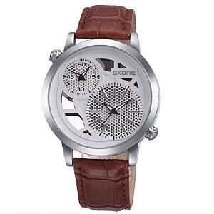 Relógio Masculino Skone Analógico Casual 9248EG Marrom-