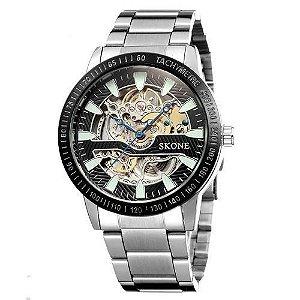 Relógio Masculino Skone Analógico Casual S80010 Prata-