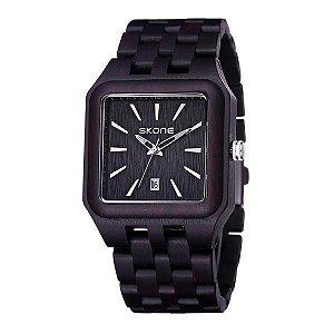 Relógio Masculino Skone Analógico Madeira 7398BG Preto-