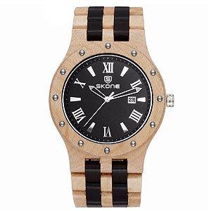 Relógio Masculino Skone Analógico Madeira 7399BG Preto-