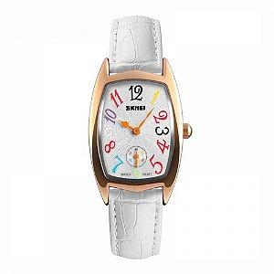 Relógio Feminino Skmei Analógico 1323 Rose e Branco