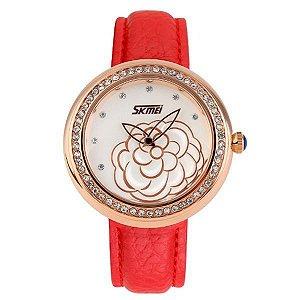 Relógio Feminino Skmei Analógico 9087 - Vermelho e Dourado-